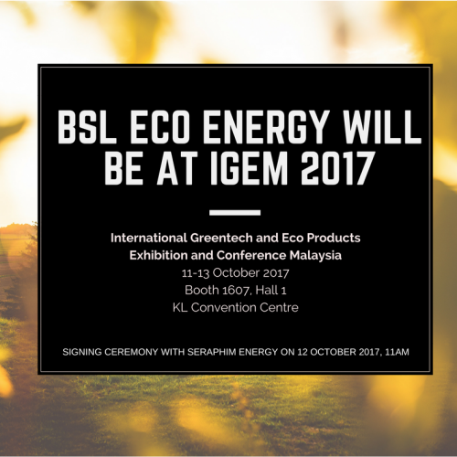 BSL Eco Energy will be at IGEM 2017