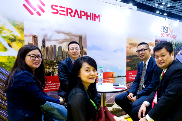 TBEA Co Ltd, Seraphim Solar System and BSL Eco Energy having a lighthearted catch up during the exhibition.