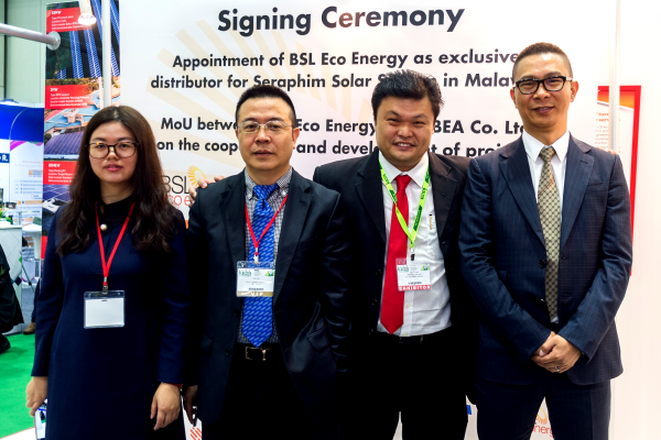 (From left) TBEA Co Ltd Regional Director (SEA) International Marketing Management Ms He Shaofang, TBEA Co Ltd Deputy General Manager for International Business Mr Chen Jie, BSL Eco Energy Managing Director Mr Lim Chi Haur and Seraphim Solar System Chief Executive Officer Mr Polaris Li