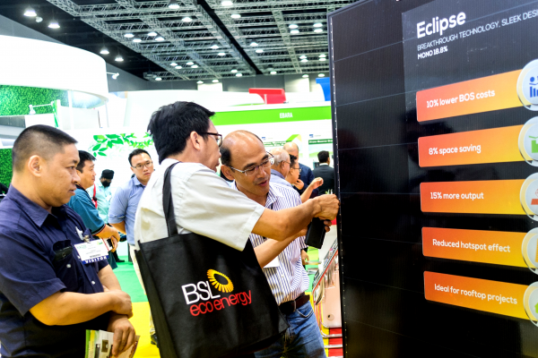 Exhibition delegates admiring Seraphim's unique Eclipse solar panel, exclusively available in Malaysia through BSL Eco Energy